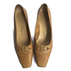 Salvatore Ferragamo Classic Tan Nude Pump Heels